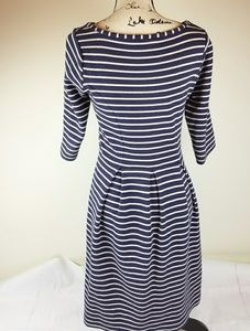 Biden Ladies Blue and Cream 4R Striped Dress